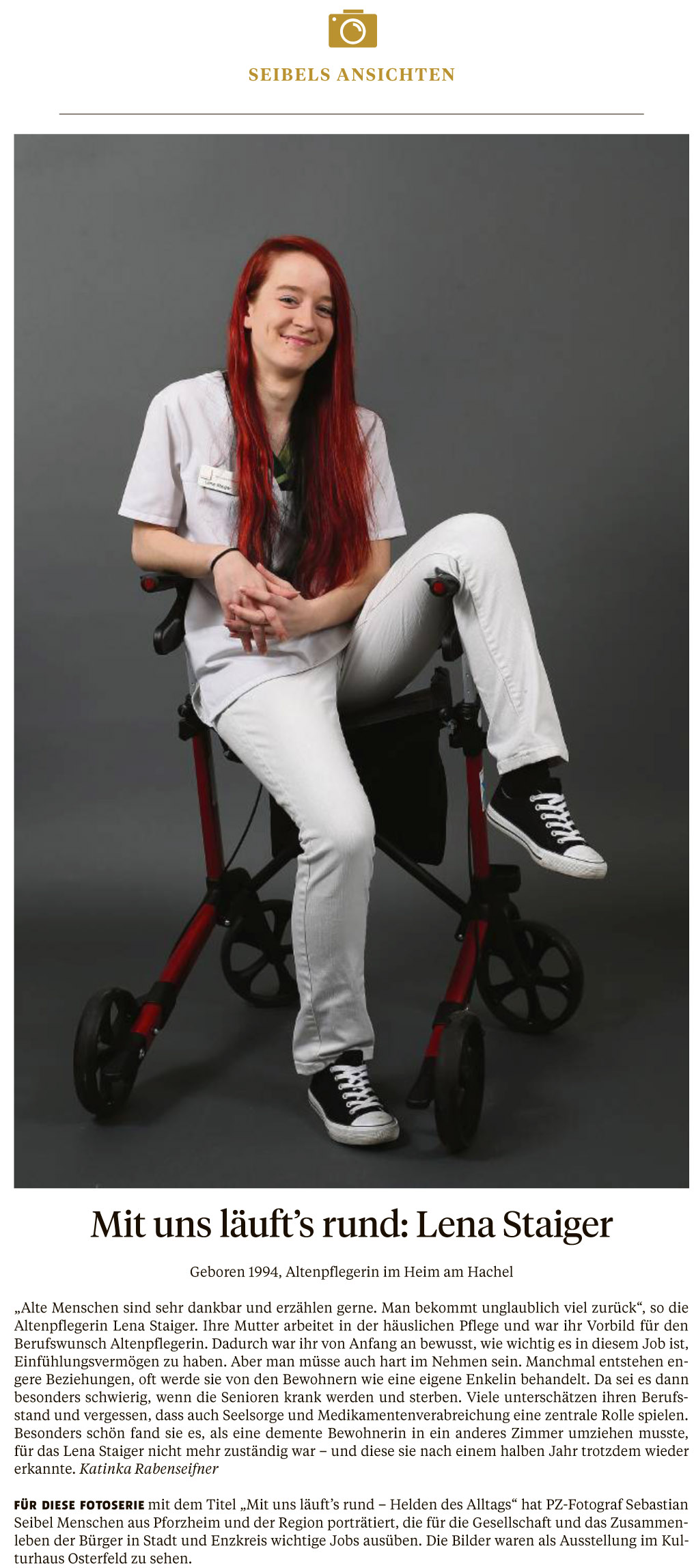 Lena Steiger, Altenpflegerin